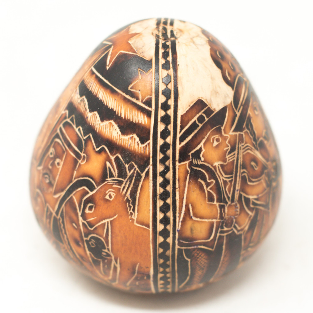 "Hand Carved Gourd Nativity and Musicians 4"" x 4"""