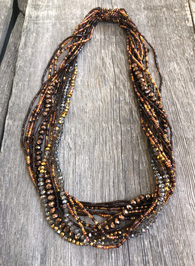 Necklace Cooper Gold and Dark Silver, Multi Color Sparkly Beads, Handmade Women's Jewelry, Multi-strand, Multi-color Magnetic Clasps, Guatemala (Gold)
