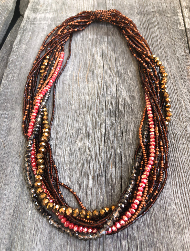 Handmade Beaded Statement Necklace, Red and Brown, Women's Jewelry, Gift for Her, Multi Strand, Dressy, Casual
