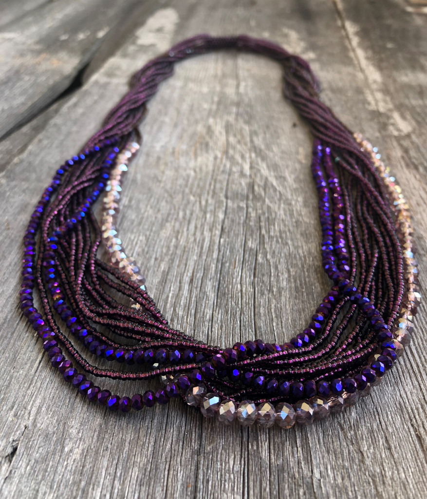 Handmade Beaded Necklace, Purple and Blue, Long, Women's Jewelry, Gift for Her, Multi Strand Elegant Statement Necklace, Dressy and Casual
