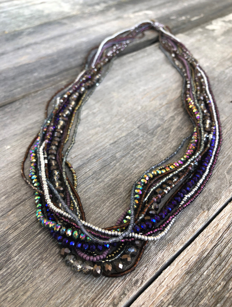 Handmade Beaded Necklace, Silver, Purple, and Blue, Long, Women's Jewelry, Gift for Her, Multi-Strand Statement Necklace, Dressy and Casual