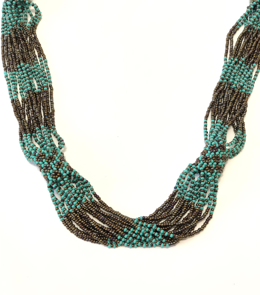Handmade Beaded Necklace, Turquoise and Brown, Women's Jewelry, Gift for Her, Elegant Statement Necklace, Dressy and Casual Wear