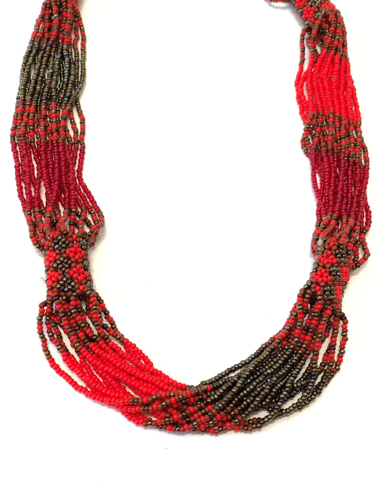 Handmade Beaded Necklace, Red and Brown Tones, Women's Jewelry, Gift for Her, Elegant Statement Necklace, Dressy and Casual Wear