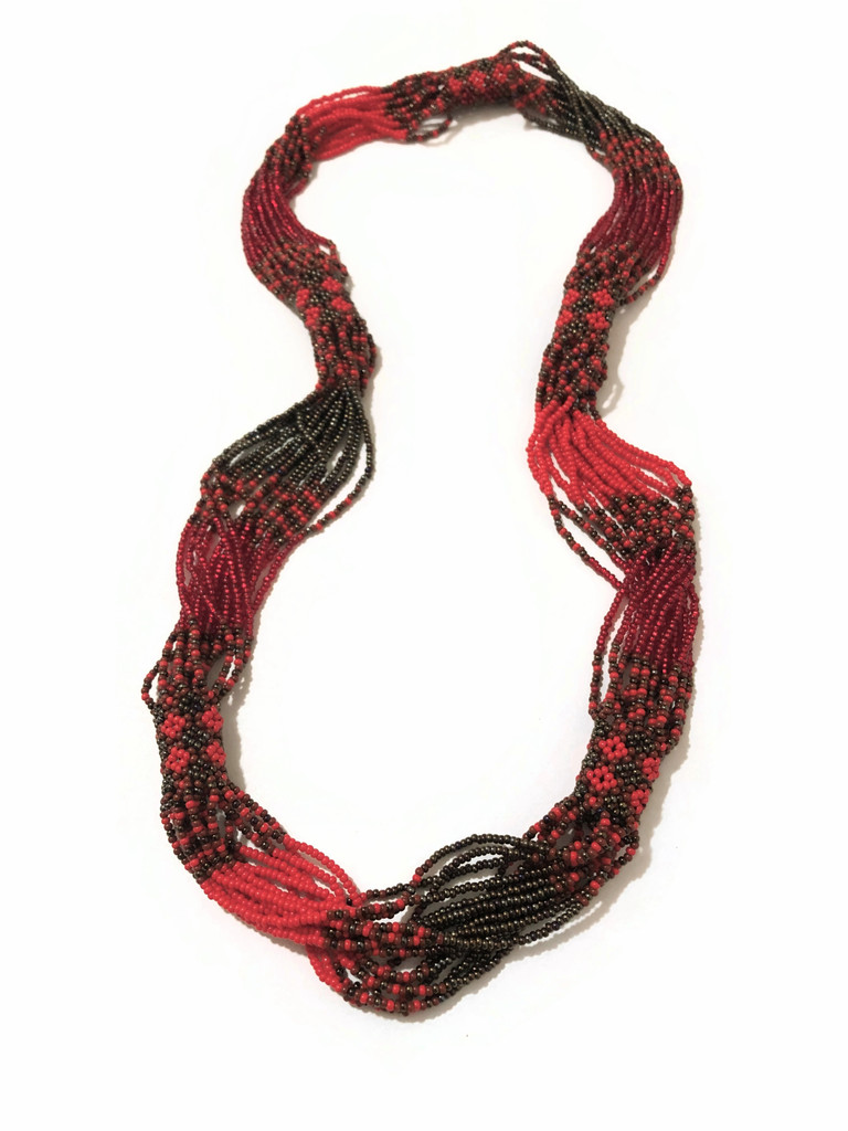 Necklace Red and Golden Brown, Multi Color Sparkly Beads, Handmade Women's Jewelry, Gift for Her, Elegant, Casual Wear 14 Inches Drop