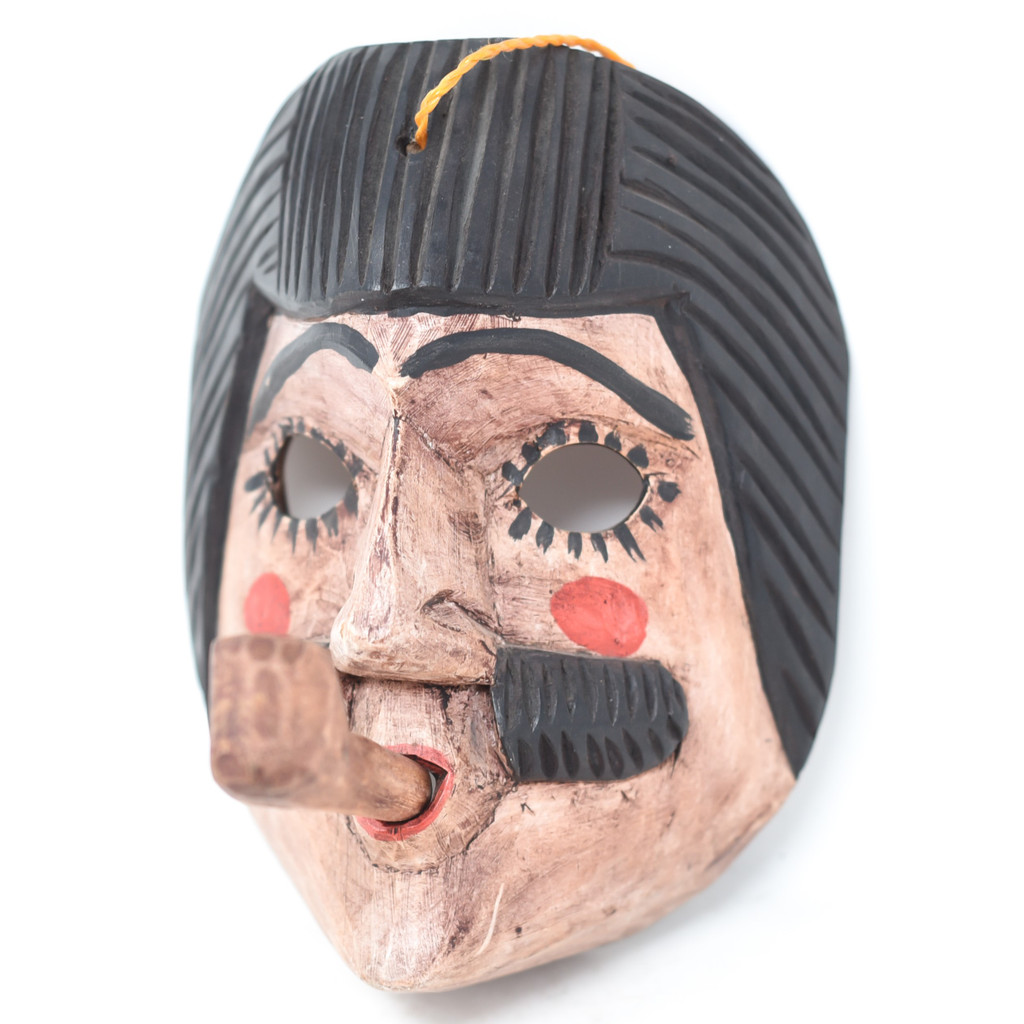 """San Simon Mask with Pipe, Hand Carved in Guatemala, Fair Trade Traditional Folk Art 5.5"""" x 7"""" x 6"""""""
