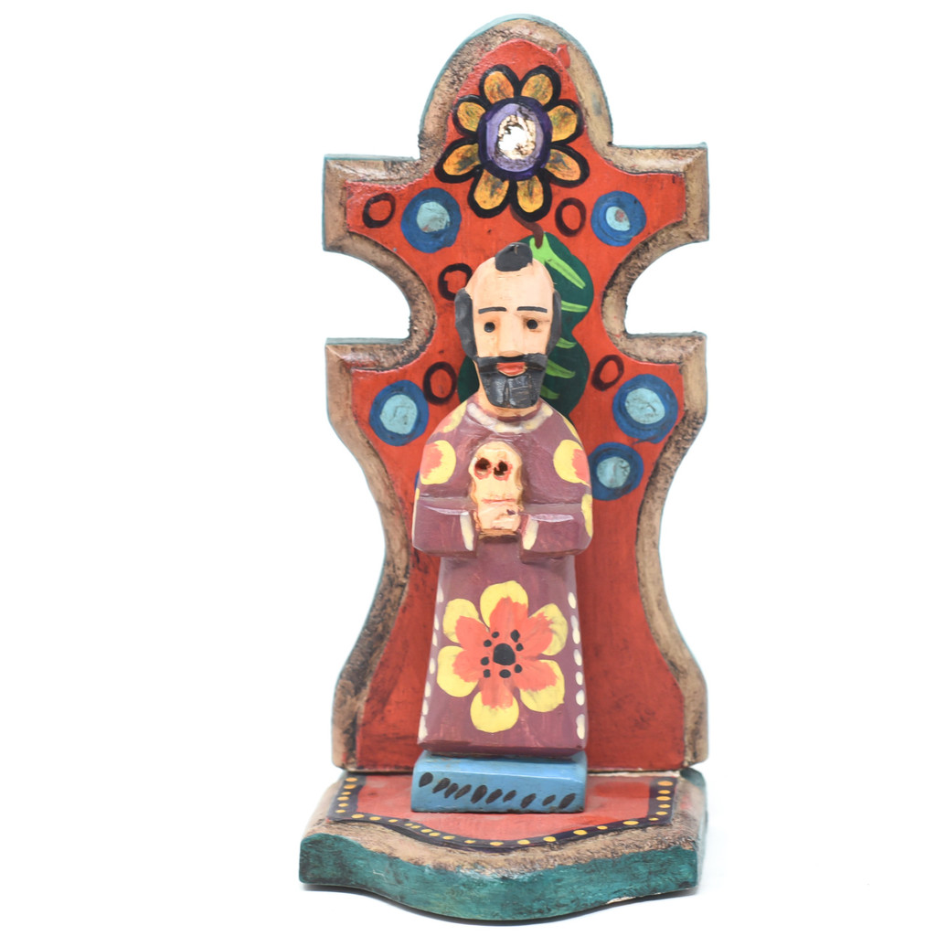 "Saint Francis Alter, Holding a Skull, Hand Carved in Guatemala, Fair Trade Folk Art 7.5"" x 3.5"" x 3"""