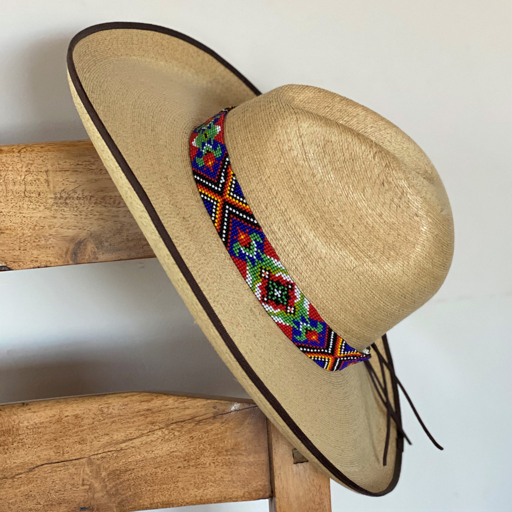Beaded Hat Band, 1 Inch Wide Hatband, Hat Accessory, Leather Ties, Men, Women, Multi Color Floral Motifs Handmade in Guatemala