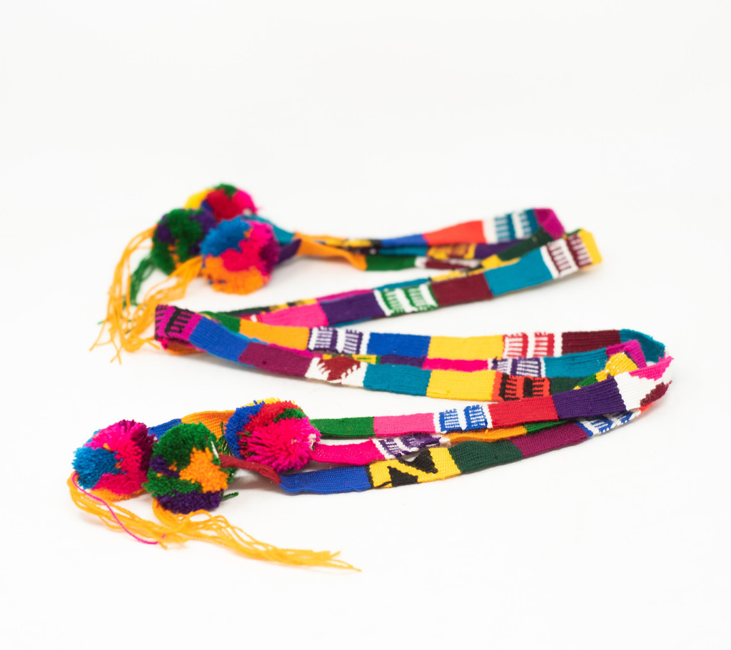 Belt Strap with Medium Pom Poms, Hat Band, Hatbands, Handwoven Embroidered Belts, Wrap Around Tie, Ethnic Patterns, Spirit Wear Colors, Graduation Sash, Tassel, Guatemala (Multi-Color)