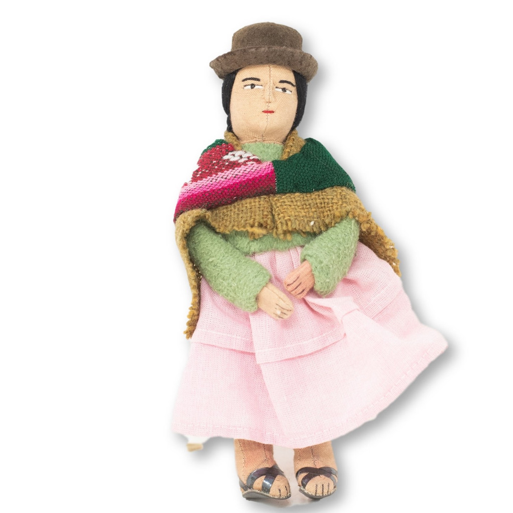 """Soft Sculpture Doll, Aymara Women with Baby on Back, Bolivian Altiplano 7"""" x 4"""" x 2"""""""