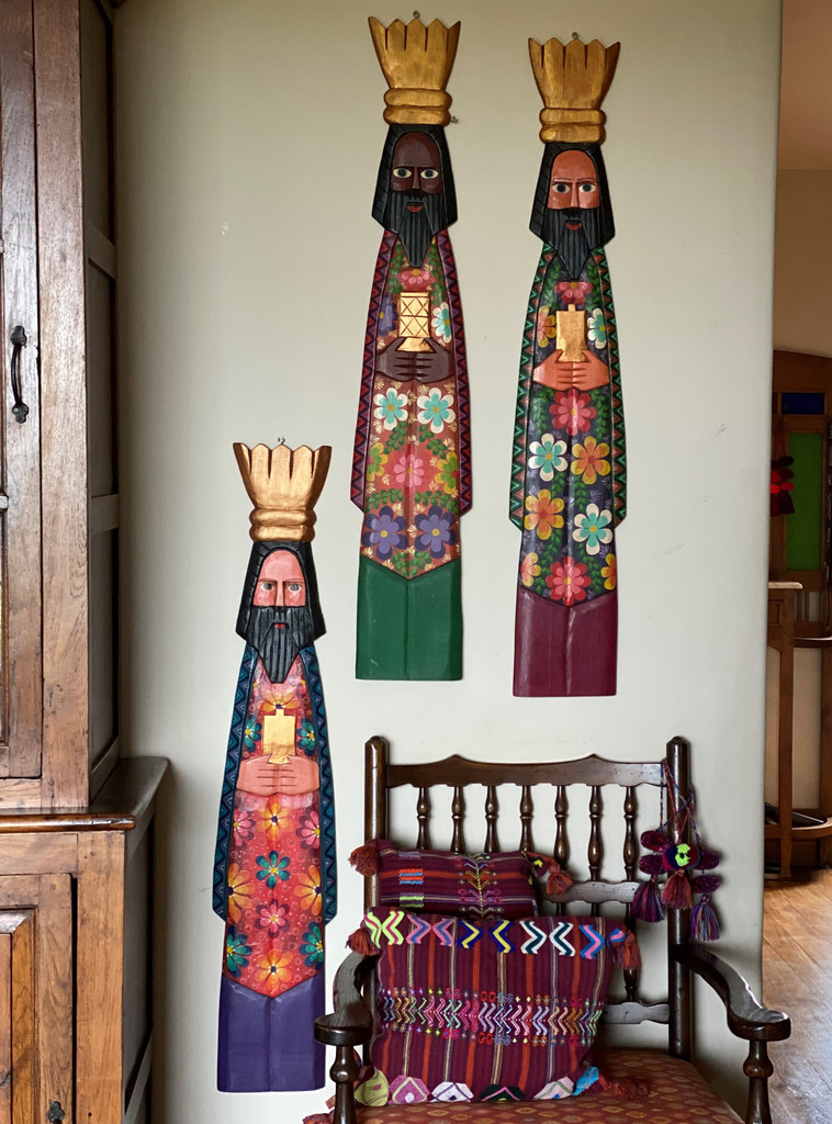 Three Kings, Gaspar, Melchior and Balthazar, Magi, Hand Carved  Guatemalan Colors,  Set by Artist Rodrigo Canil 40 x 7 x 1