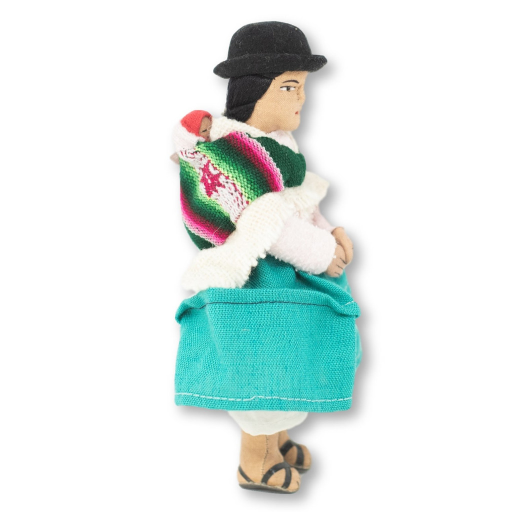 "Handmade Doll, Cream Color Knit Sweater, Aymara Women with Baby on Back, Bolivian Altiplano 7"" x 4"" x 2"""