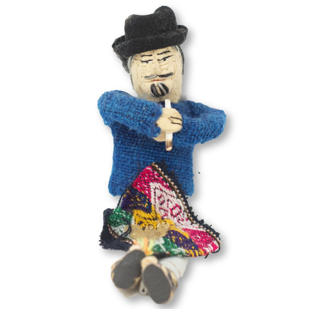 "Handmade Doll, Man Selling Coco , Bolivian Altiplano 4.5"" x 4"" x 2.5"""