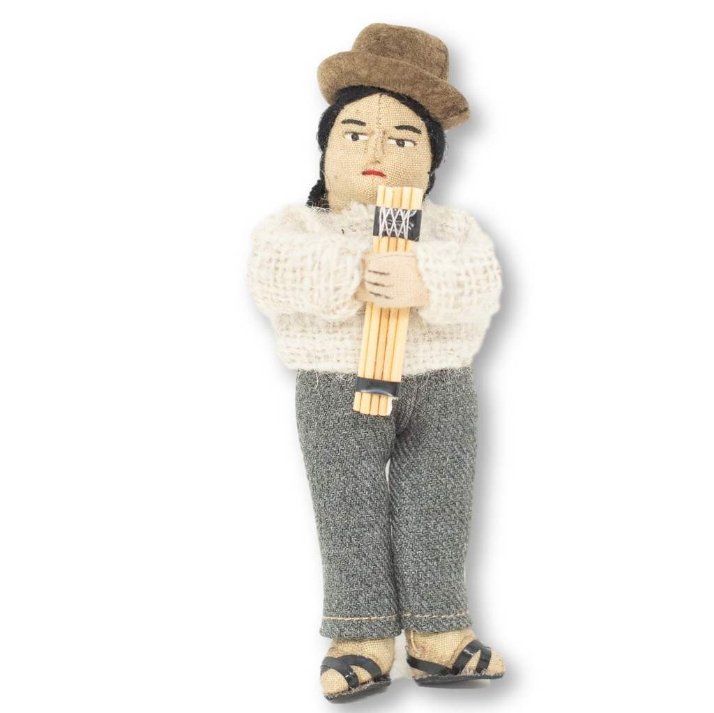"Bolivian man playing Siku in a Cream Color Wool Sweater, Panpipes  5"" x 2"" x 1.5"""