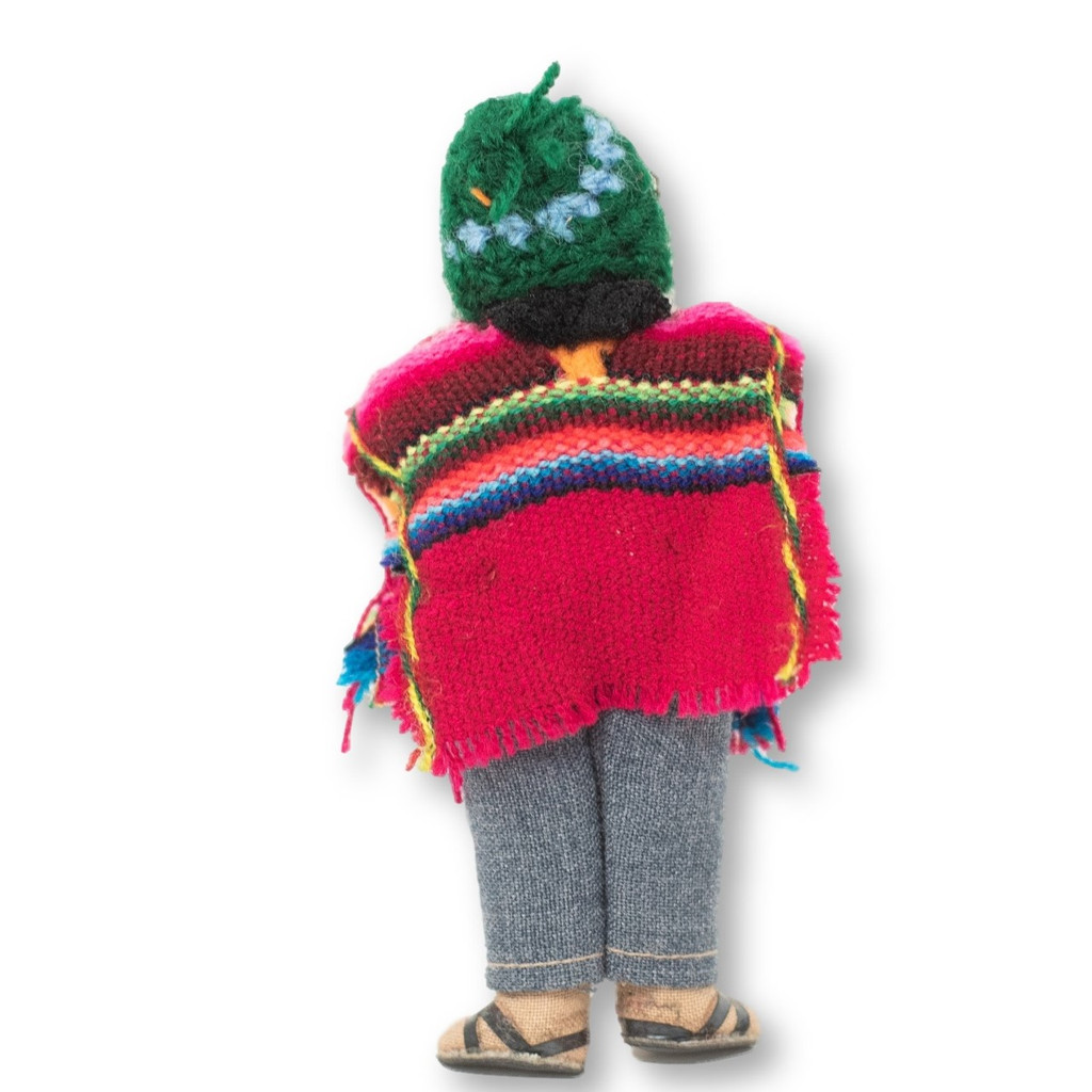 "Bolivian man playing Siku, Panpipes , Knit Wool Hat and Pancho,  5"" x 2"" x 1.5"""