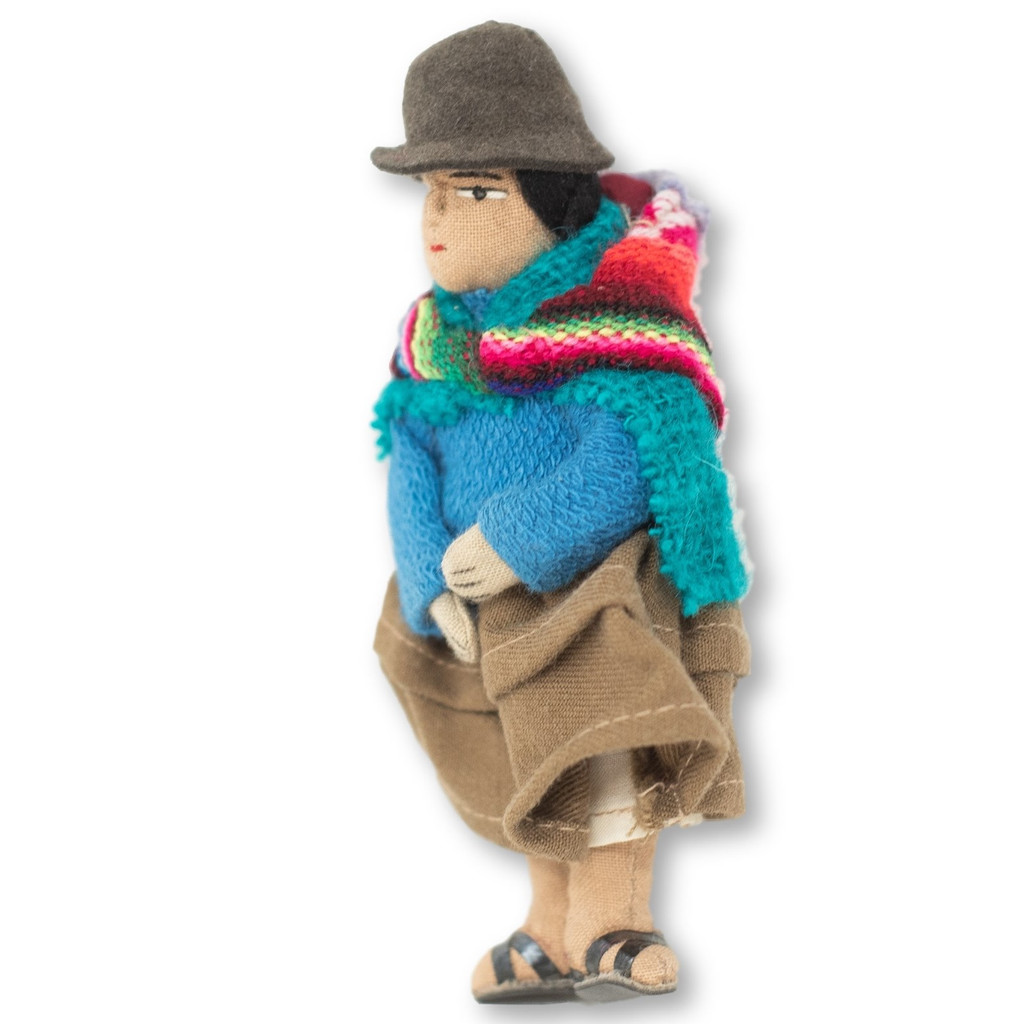 """Bolivian Cholita Doll, Royal Blue Knit Sweater, with a Aguayo Carrying her Baby 5"""" x 2"""" x 1.5"""""""