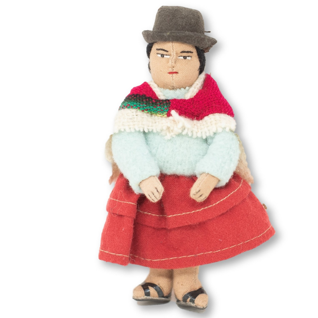 """Bolivian Cholita Doll, Cream Color Knit Sweater, with a Aguayo Carrying her Baby 5"""" x 2"""" x 1.5"""""""