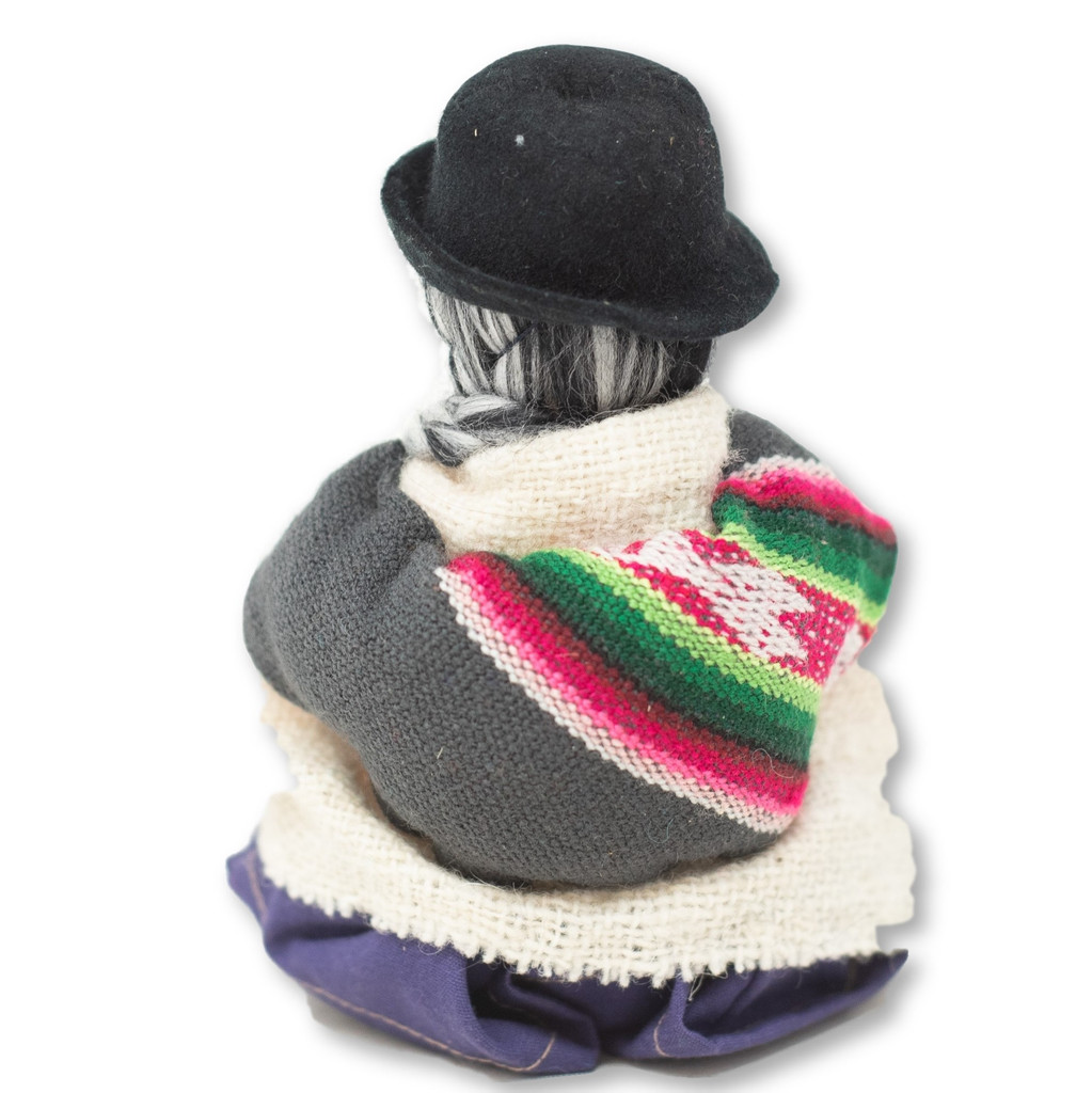 """Grandma Wearing a Traditional Bowler Hat and Dress chewing Coco Leaves  5.5"""" x 4.5"""" x 3.5"""""""