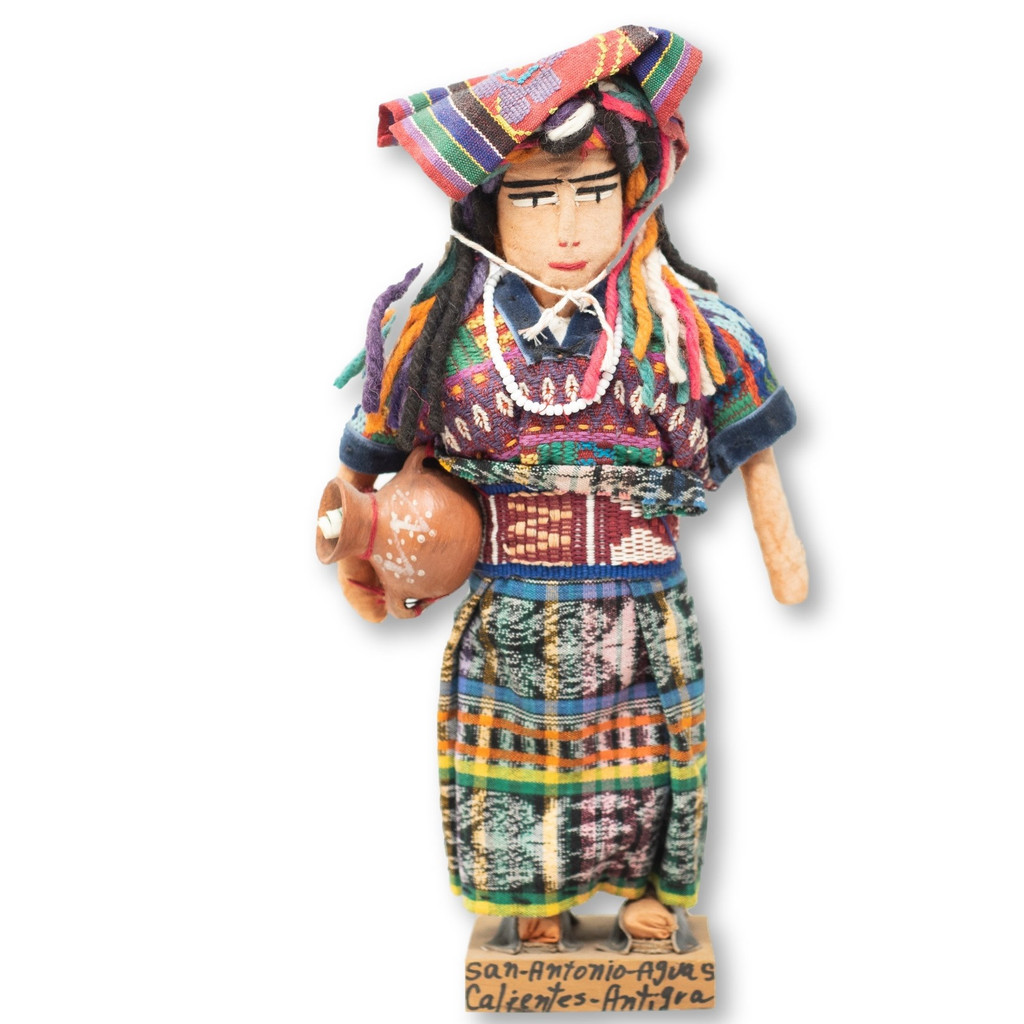 "Aguas Caliente Doll in Traditional Dress Guatemala 15"" x 8"" x 4"""