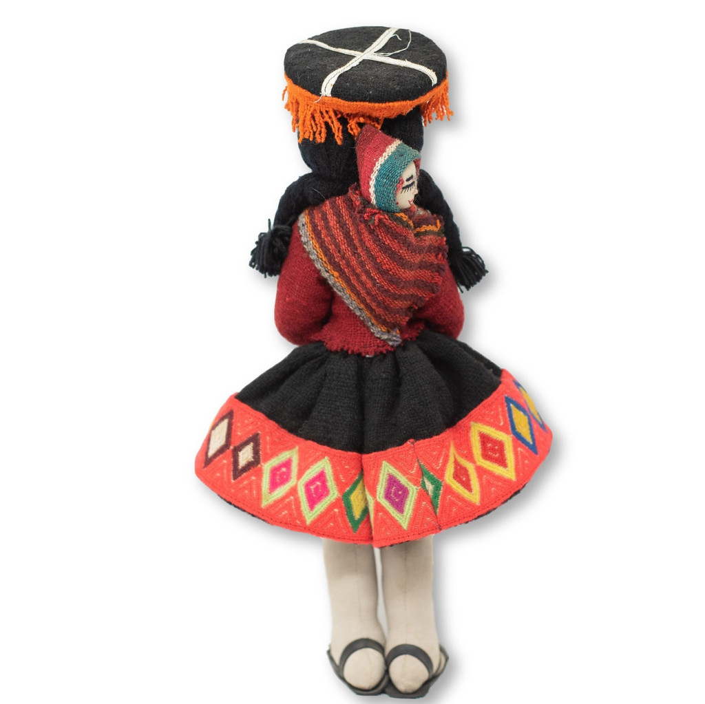 """Cuzco Peru Doll Handmade Cotton and Wool Traditional Dress with Baby 17"""" x 7.5"""" x2 """""""