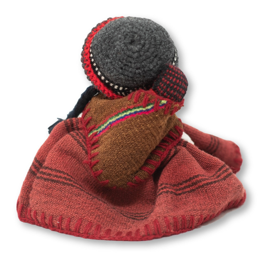 """Peru Doll Handmade Cotton and Wool Traditional Dress with Baby 17"""" x 7.5"""" x2 """""""