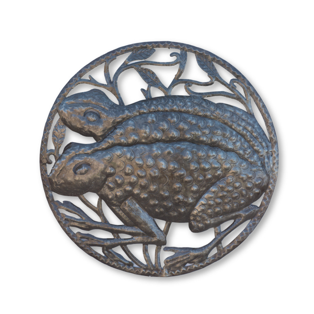Frogs, Frogger, Reptile, Sustainable, Eco-Friendly, Recycle, Recyclable, Handcrafted, Handmade, One-of-a-Kind, Limited Edition, Pond, River, Home Decor, Metal, Steel, Farmhouse
