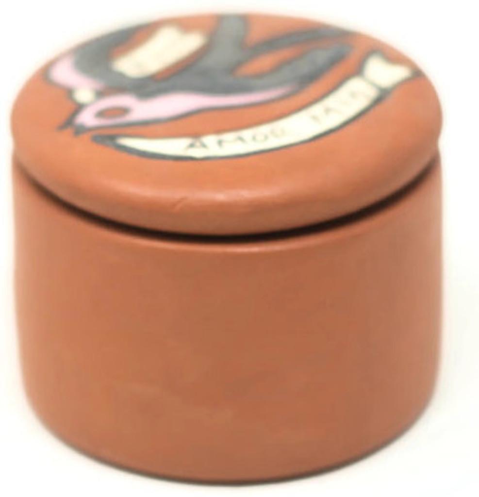 """Dulce Amor Mio"", My Sweet Love, Hand painted clay box Peru  2"" x 2"" x 1.5"" Folk 44"