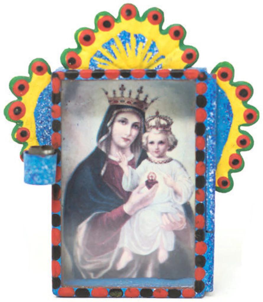 """Cielito Lindo Mexican Tin Nicho Niche Altar Virgin, Madona and Child 2.75"""" x  3.25"""" x .5"""""""