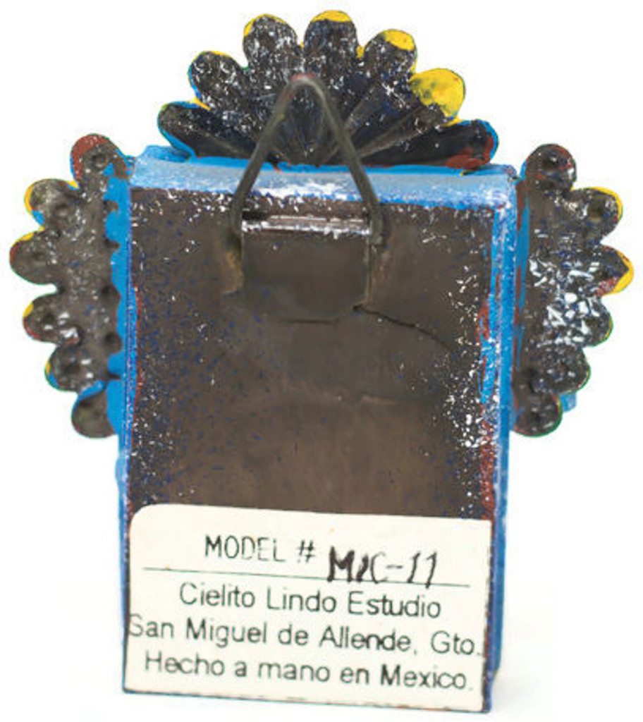 "Cielito Lindo Mexican Tin Nicho Niche Altar Virgin, Madona and Child 2.75"" x  3.25"" x .5"" Folk Art 50"