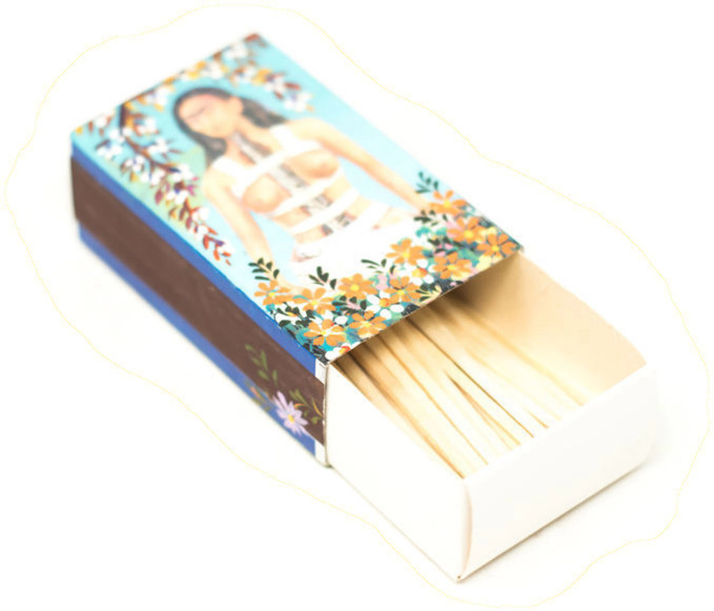 Hand crafted matchbox two sided with a pictures of Frida Kahlo,  Folk 55