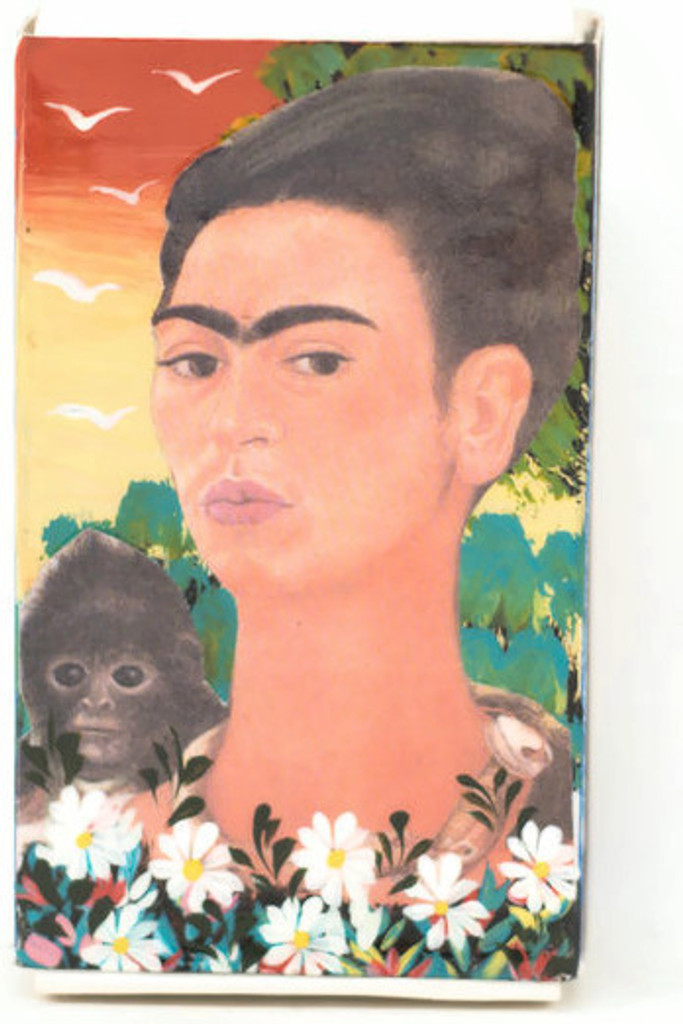 Hand crafted matchbox two sided with a pictures of Frida Kahlo,  Folk 59