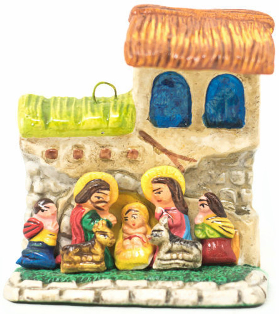 "Nativity Christmas ornaments, these tiny retablos celebrate the birth of Jesus. 2.25"" x 2.75"" x 1"" Folk Art 64"