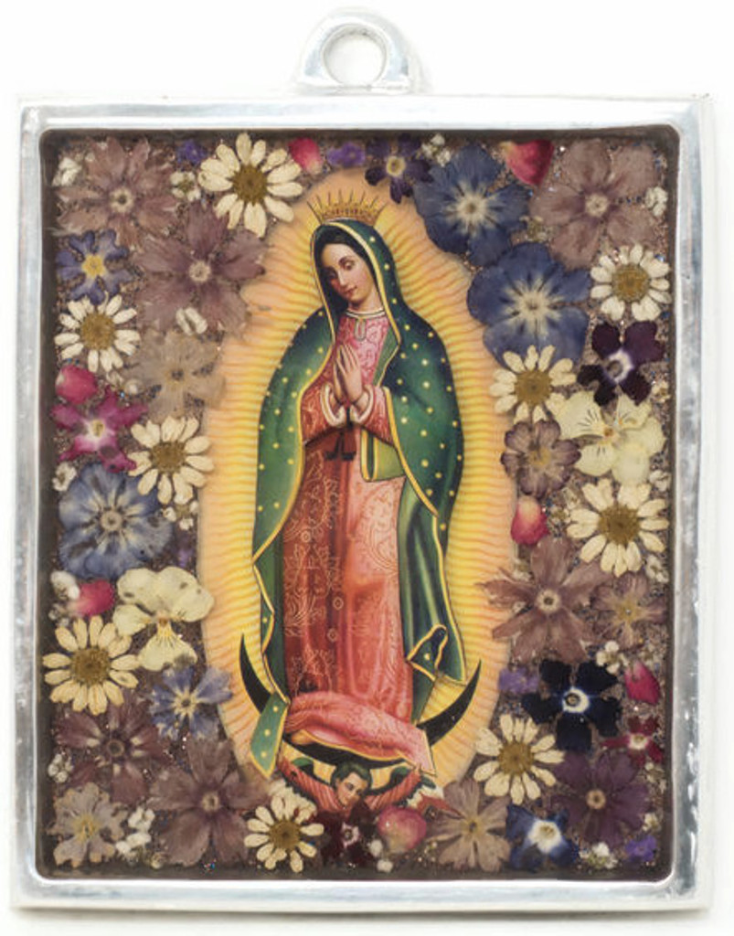 """The Virgin, Our Lady of Guadalupe, Plaque with real dried Flowers encased in Resin with a Pewter Frame 4"""" x 4.75"""" x .5"""" Folk Art"""