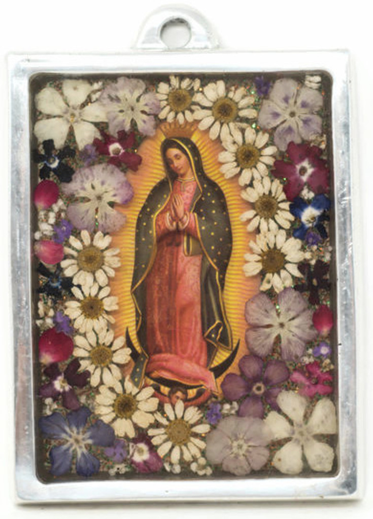 """The Virgin, Our Lady of Guadalupe, Plaque with real dried Flowers encased in Resin with a Pewter Frame 3"""" x 4"""" x .5"""" Folk Art 101"""