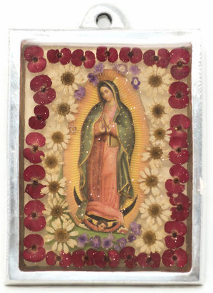 """The Virgin, Our Lady of Guadalupe, Plaque with real dried Flowers encased in Resin with a Pewter Frame 3"""" x 4"""" x .5"""" Folk Art"""