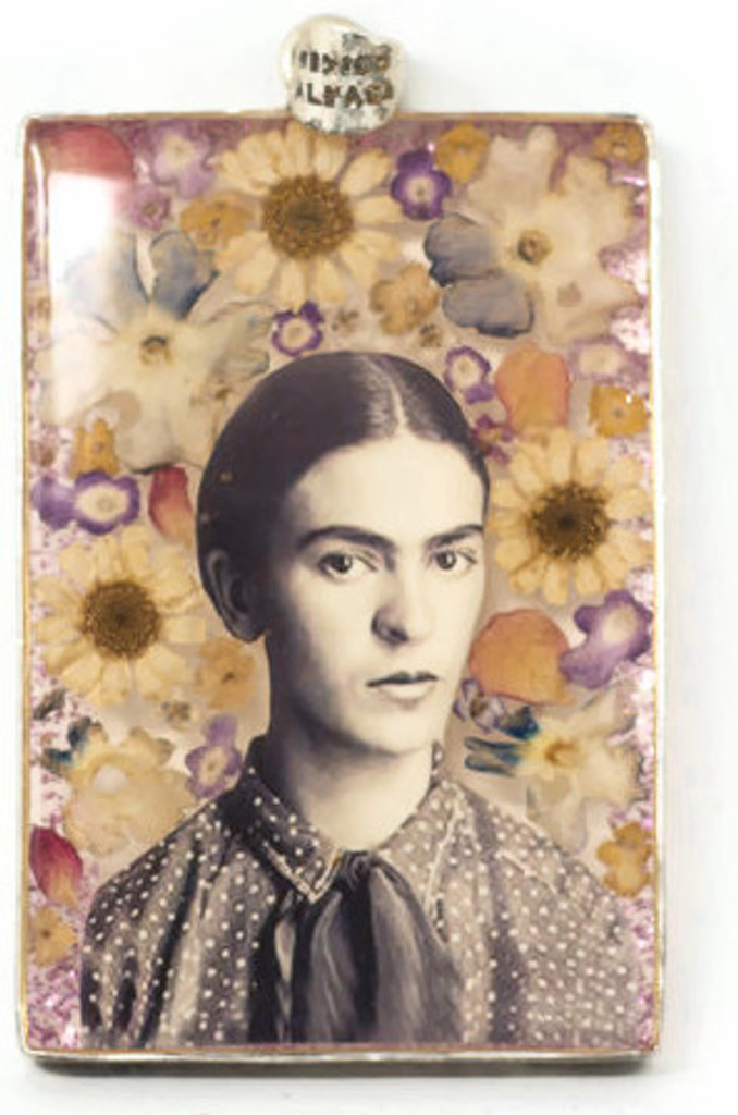 "Frida Pendant, Real dried Flowers encased in Resin with a Pewter Frame 1.5"" x 2.5"" Folk Art"