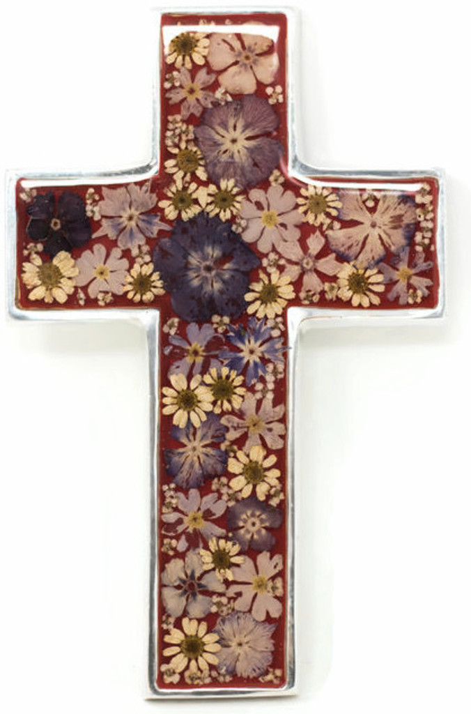 """Cross with Real Dried Flowers encased in Resin with a Pewter Frame 4"""" x 6.5"""" x .5"""" Folk Art"""