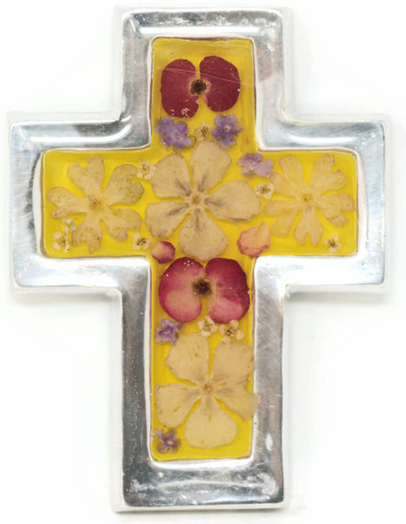 "Cross with Real Dried Flowers encased in Resin with a Pewter Frame 2.75"" x 3.5"" x .5"" Folk Art 132"
