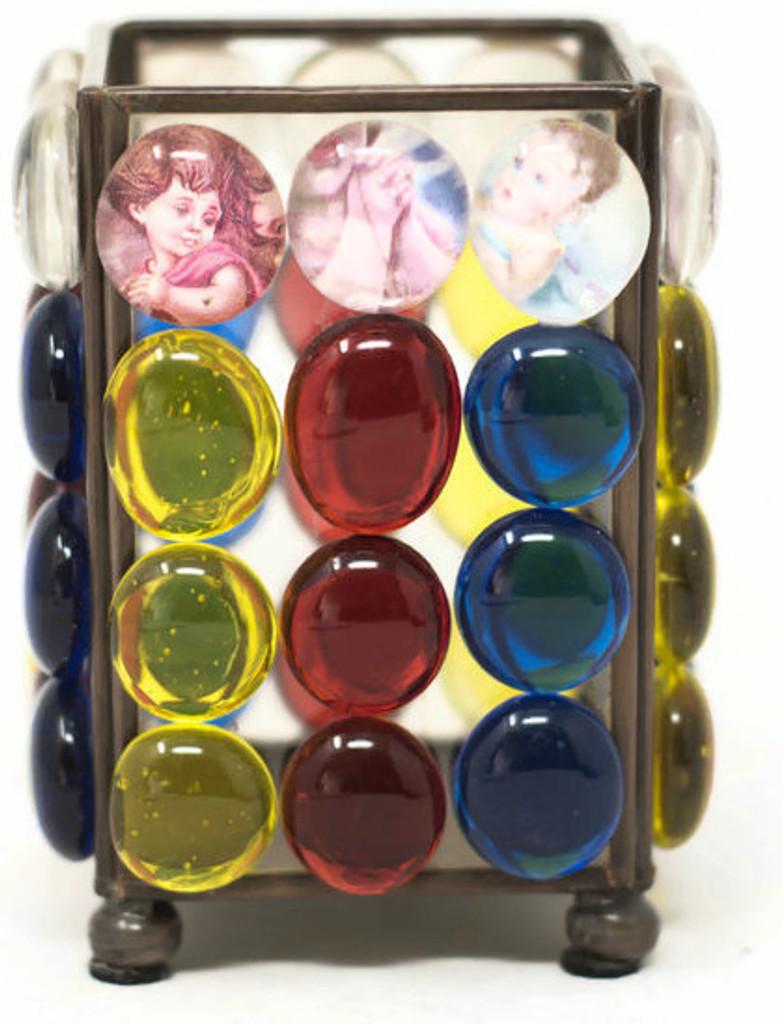 """Saints encased in Resin beads  3"""" x 3.75"""" x 3"""" Folk Art 136"""