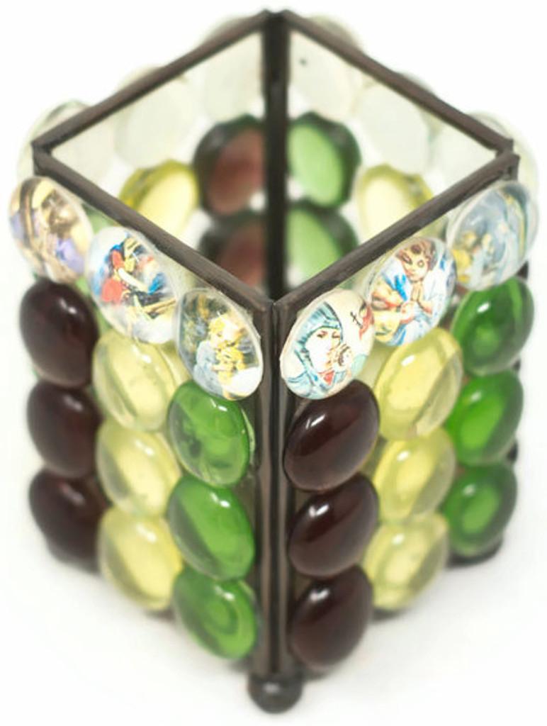 """Saints encased in Resin beads  3"""" x 3.75"""" x 3"""" Folk Art"""