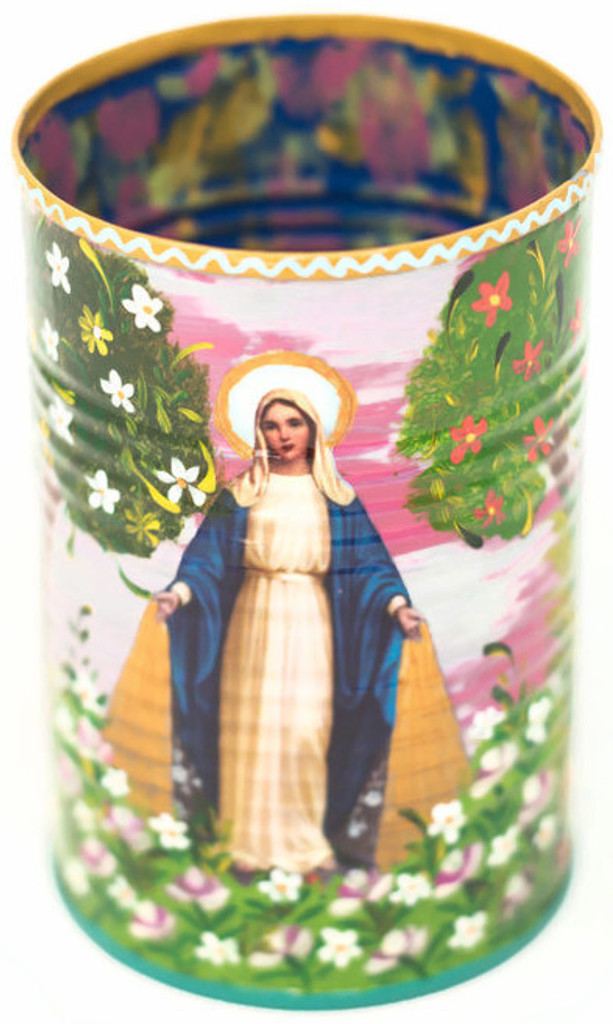 "Hand Painted Up-cycled Tin Can Pencil Holder Virgin Mary With One of a kind art 3"" x 4"" FOLK148"