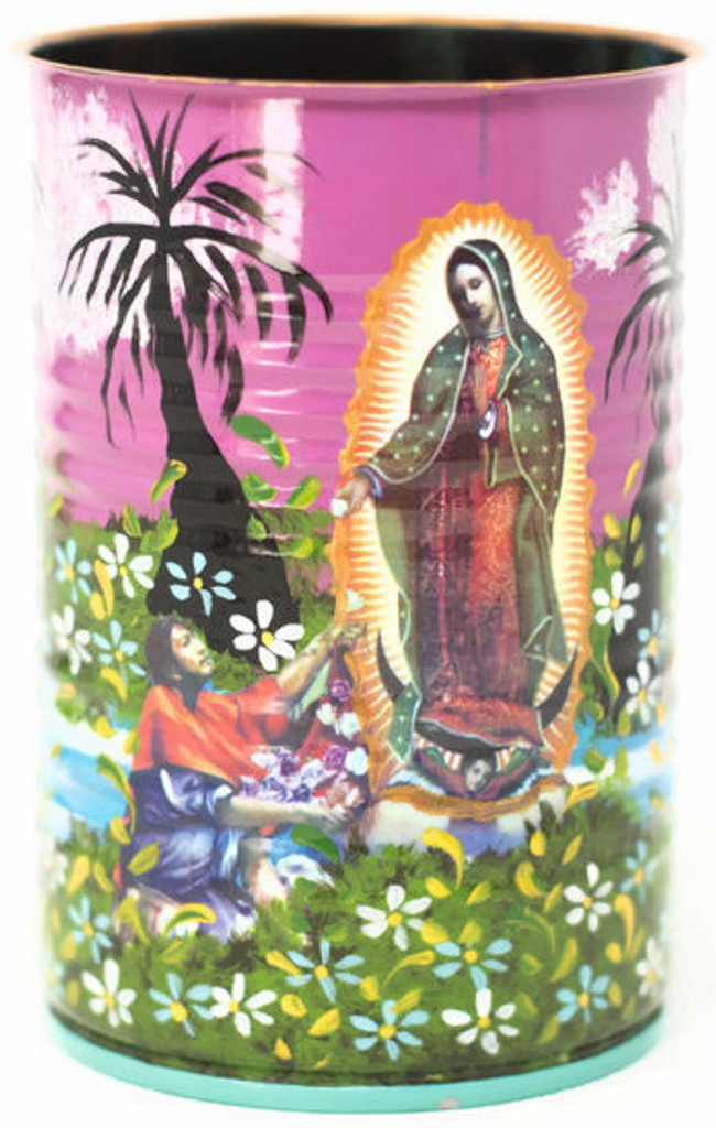 """Hand Painted Up-cycled Tin Can Pencil Holder Virgin, Our Lady of Guadalupe and Juan Diego of a kind art 3"""" x 4"""""""