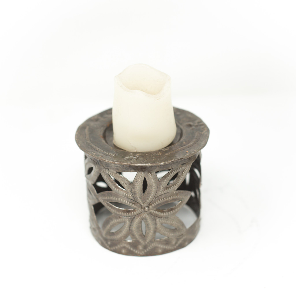 Candle Holder, Haiti, Haitian Metal, Home Decor, Interior Design, Flowers, Floral Art, Candles, Handmade, Handcrafted, Oil Barrels,