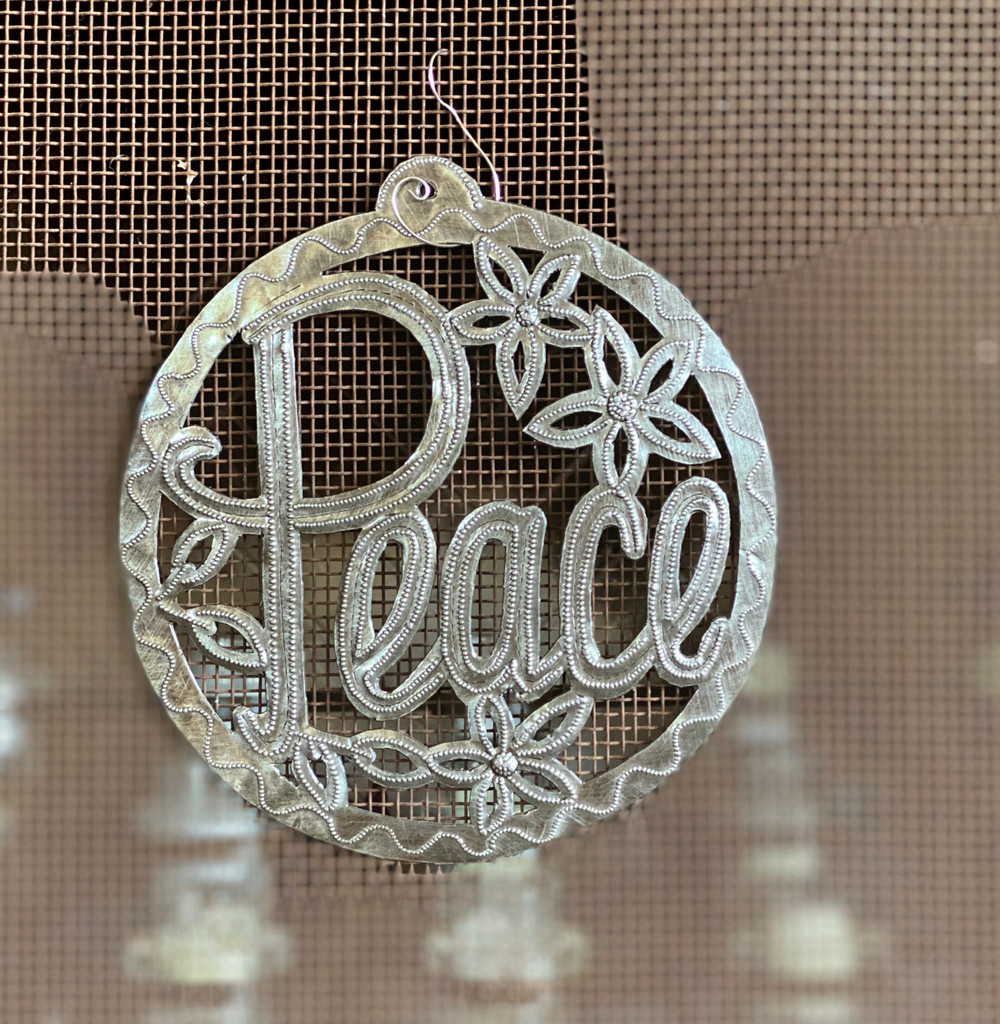 PEACE, Metal Sign, Wall Hanging Plaque, Decorative Ornament Handmade in Haiti 7.5 X 7.5 Inches