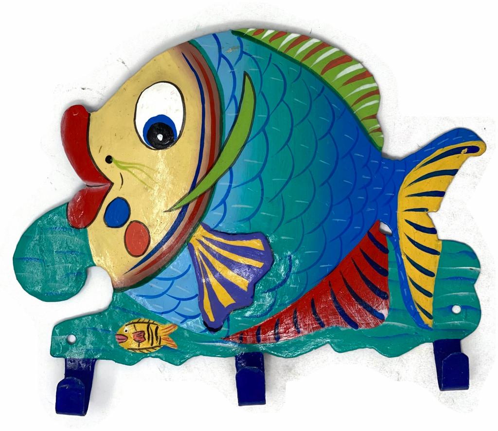 Haitian metal fish hand painted colorful wall art hook
