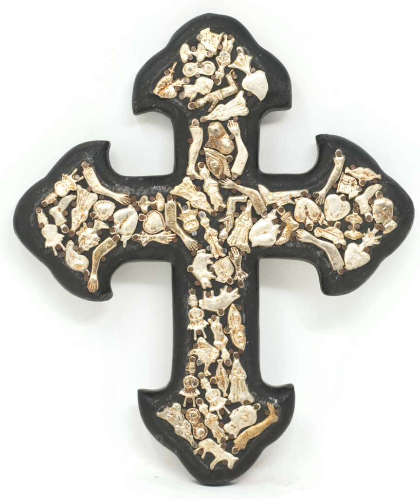One of a kind Cross with milagros charms, Handmade in Mexico