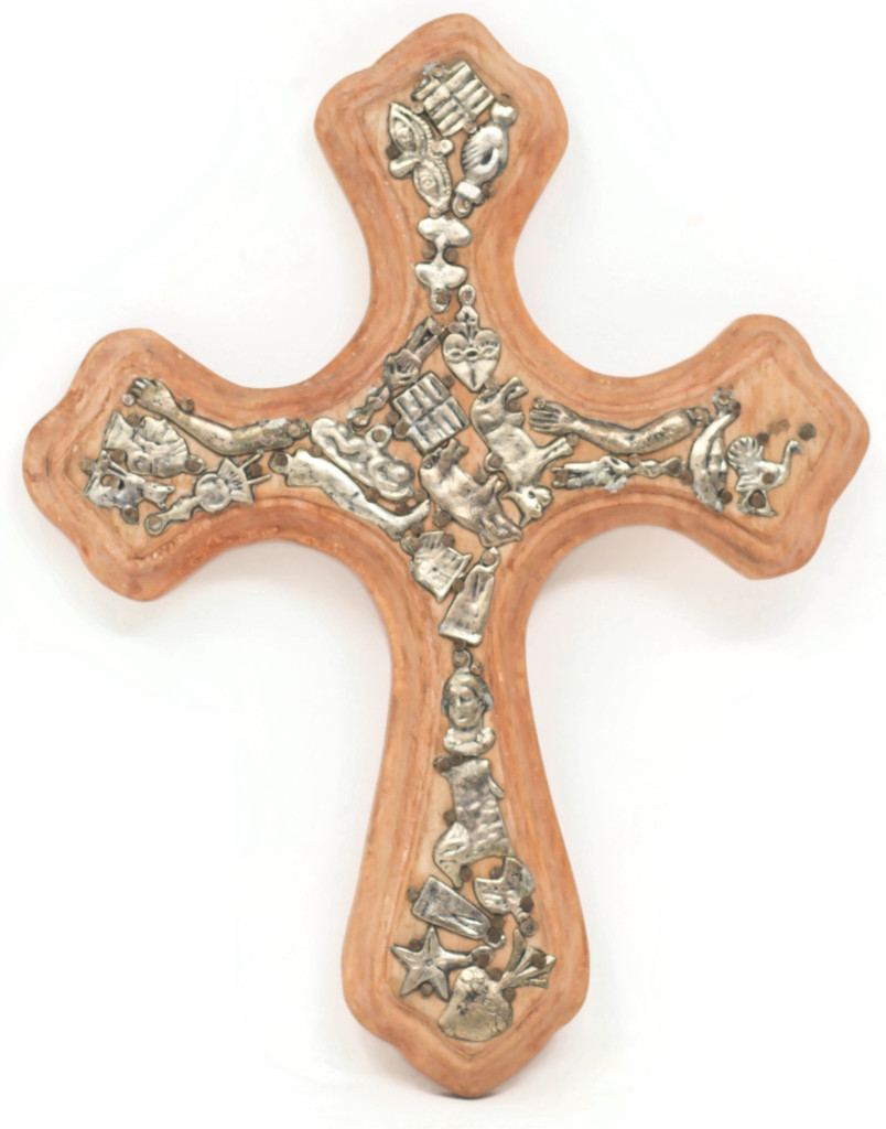 Peach Orange Hand Hammered Milagro Cross