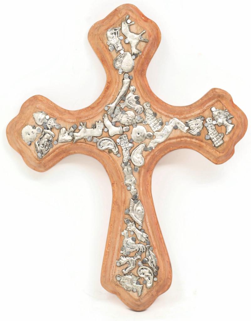 Dusty Orange Rustic Milagro Cross