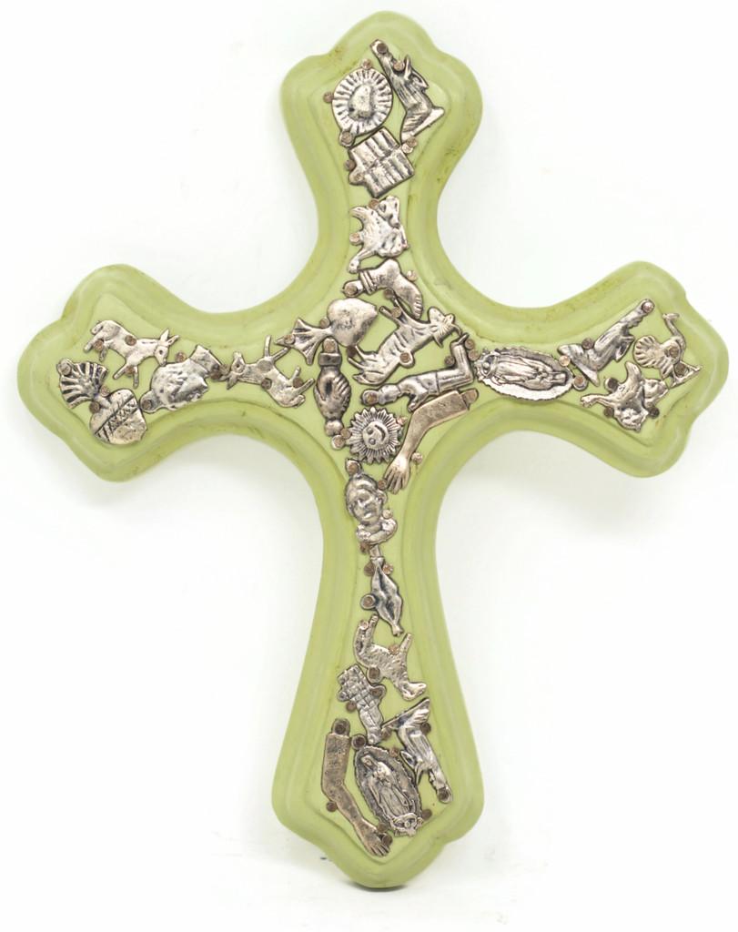 Lime Green Milagro Cross