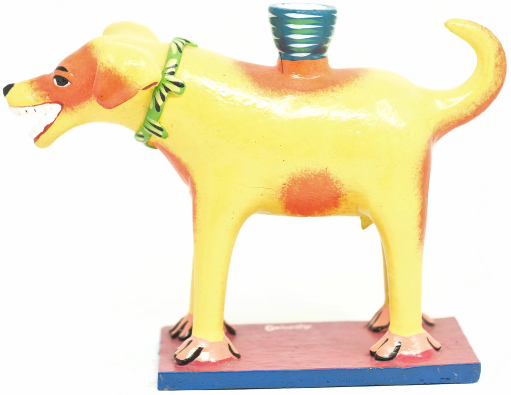 """Dog Candle Holder Made by Ortega Family, One-of-a-Kind 8.5"""" x 6"""" x 3.5"""" Ortega 02"""