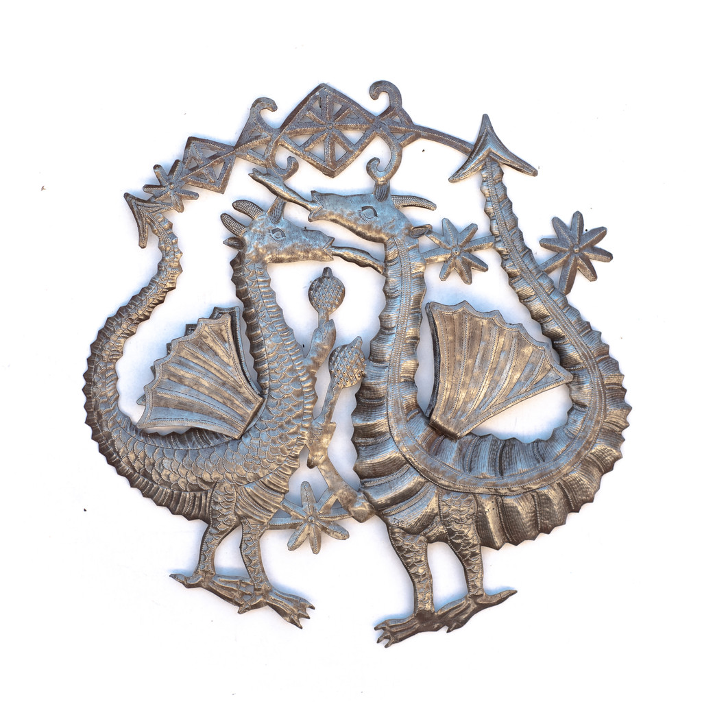 Dragon, Dragons, Mystical Creature, Wings, Voodoo, Veve, Haiti, Haitian, Religion, Religious, Whimsical Art, Home Decor, Unique, One-of-a-Kind, Metal, Steel, Recycle, Recyclable